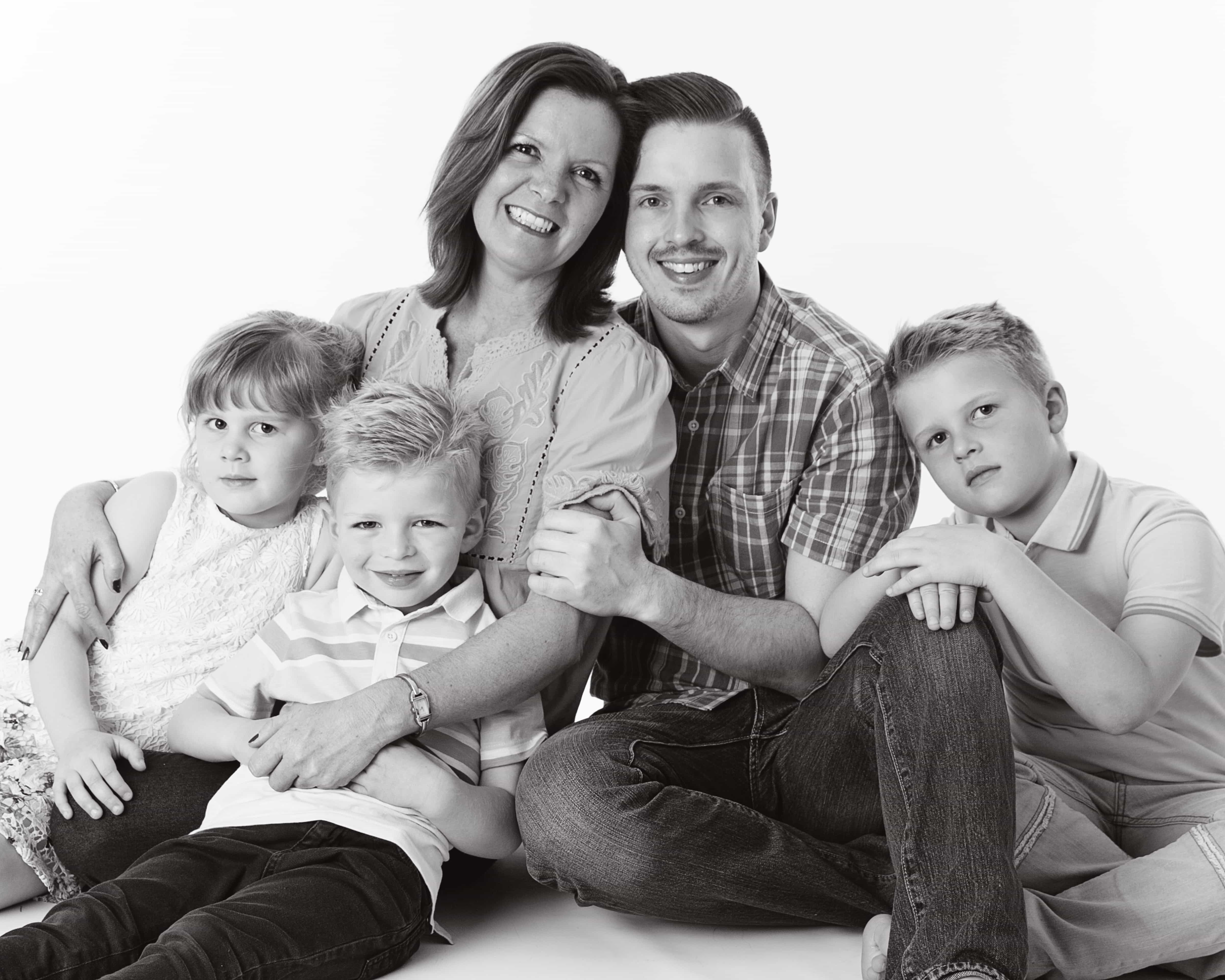 Black & white family photography shoot merseyside